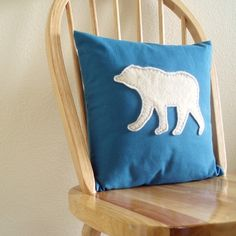 Bear Pillow  White Wool Felt Applique on Blue by SmithAndDaphne #sfetsy