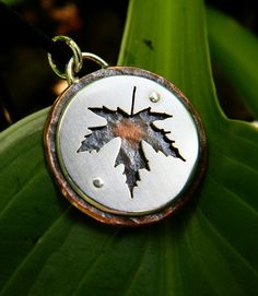 Maple Leaf, Sterling silver, copper, silhouette, hand made every day wear, nature, fall leaves, tree, forest, rustic, -- inspiration