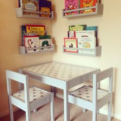 My take on the IKEA Latt table and chairs... Grey paint job and wipe clean…