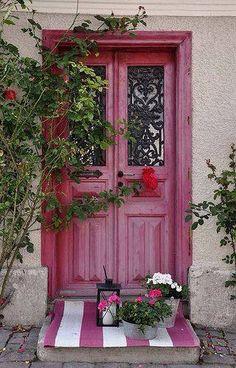 Red distressed door
