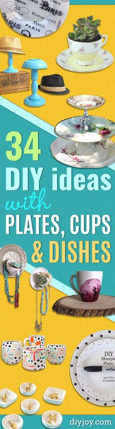 DIY Projects With Old Plates and Dishes -Creative Home Decor for Rustic, Vintage and Farmhouse Looks. Upcycle With These Best Crafts and Project Tutorials Diy Crafts Vintage, Diy Home Crafts, Fun Crafts, Upcycled Crafts, Vintage Ideas, Decor Crafts, Easy Homemade Gifts, Diy Gifts, Crafts To Make And Sell