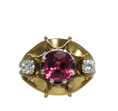 Specifications Description History Circa: 1940s Gemstones: Spinel &Diamonds Cut: Cushion Shape Spinel & Brilliant Cut DiamondsWeight & Colour:Spinel, Deep Pink Colour = 1.37ct (GSL Grading Report)2 Diamonds = 0.20cts G/VS Material: 18ct Yellow Gold & 18ct White Gold Handmade settingStampedMauboussin