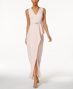 Vince Camuto Belted Asymmetrical Gown - Dresses - Women - Macy's