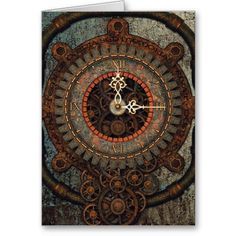 Steampunk Clock Greeting Card. A steampunk old and rusty clock with the Latin phrase, 'Tempus omnia sed memorias privat'. Time deprives all but memories. Gears and Cogs with a Mechanical, engineering or steampunk theme. Metal, machinery, industrial and steampunk gift products for sale.