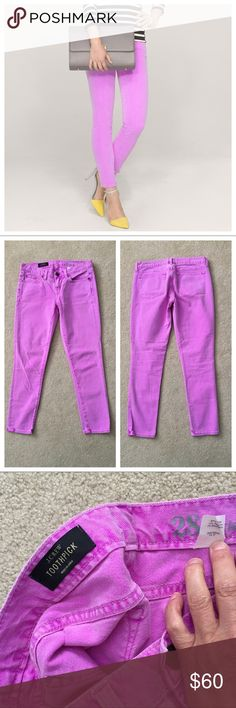 """J. Crew👖Toothpick Jean in Garment Dyed Twill Beautiful preloved condition, no stains or marks.  These are the Neon Violet color, #62443 FA12. Cover shot shows the neon pink because it better represents the true color of these jeans, the 4th photo is their photo for the jeans which is vastly different. Cotton in garment-dyed twill. 5-pocket style. 98% Cotton, 2% Elastane. Sits lower on hips. Slim through hip and thigh, with a skinny, cropped leg, hint of stretch. Waist measures appx 16"""", 8""""…"""