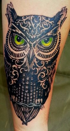 Owl tattoo forearm. Working on my sleeve