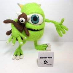 Don't miss this one of a kind needle felted interpretation of Mike Wazowski by Sneffca! On auction now!