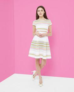Carousel Stripe skater dress - Olive   Dresses   Ted Baker UK