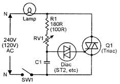 Triac Simple AC power switch with inductive load and C1-R2 snubber network to give rate effect suppression.
