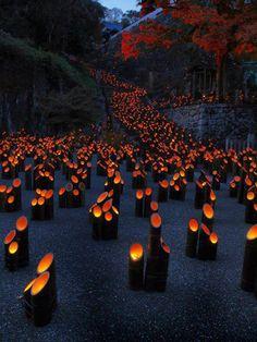 Lanternas de bambu (Festival de Chikuraku, Oita)