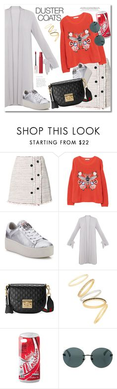 """Get the look Duster Coats"" by vkmd ❤ liked on Polyvore featuring Proenza Schouler, MANGO, Ash, Gucci, Madewell, Moschino, Chanel, Maybelline and DusterCoats"