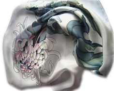 """Hand painted silk scarf """"Chrysanthemum"""" . Gray and silver. Ready to ship."""