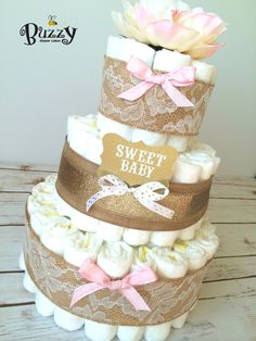 Shabby Chic Pink and Gold Diaper Cake, Pink and Gold Baby Shower, Elegant Diaper Cakes for Girl, Shower Centerpiece Girl Diaper Cake, Rustic