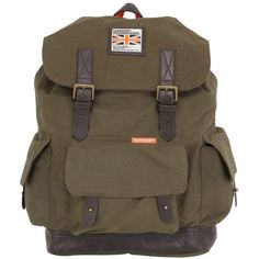 SUPERDRY Cotton Canvas Backpack ($107) ❤ liked on Polyvore featuring mens, men's bags and military green