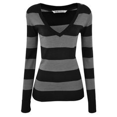 black and gray stripe v-neck top sweater