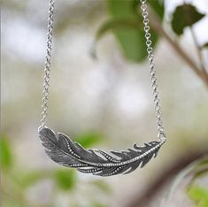 Sterling Silver Feather Necklace oxidized by MerelyEclectic