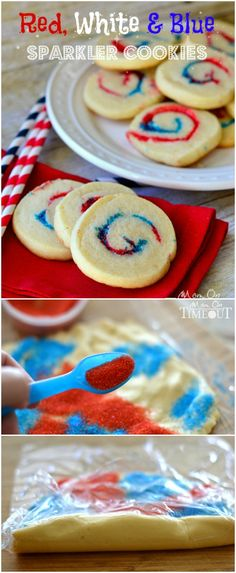 Red, White and Blue Sparkler Cookies are perfect for 4th of July, Memorial Day and more!  MomOnTimeout.com | #recipe