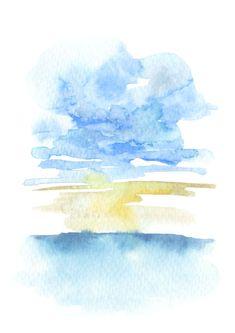 Watercolor Art Lessons, Watercolor Landscape Paintings, Watercolor Artwork, Abstract Landscape, Abstract Art, Art Prints, Fine Art, Link, Minimalist Painting