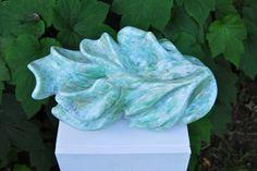 'Fleur d'Emeraude' - Turquoise Indian Soapstone, sculpture made by Agnes Verweij, Netherlands (2013).