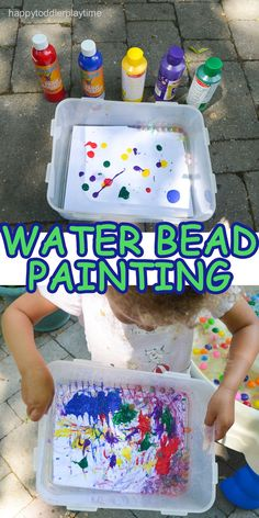 Water beads painting is the summer version to painting with marbles and just as fun. This painting activity is easy to set up and clean up. Spring Activities, Kindergarten Activities, Infant Activities, Activities For Kids, Sensory Activities, Toddler Fun, Toddler Preschool, Toddler Crafts, Baby Crafts