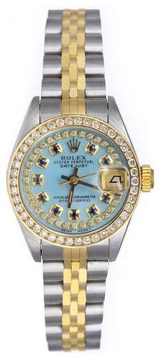 Rolex Datejust Ladies Two Tone Greenish MOP String Diamond Dial Sapphires