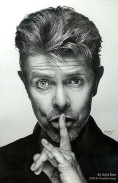 Portraits of David Bowie By Solyi Kim, HB, 2B pencil on paper, 385 mm X 605 mm