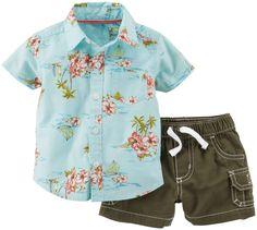 Carter's Island-Print Shirt and Shorts - Baby Boys newborn-24m Blue