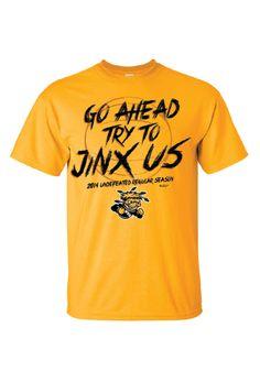 Wichita State Shockers T-Shirt - Gold WSU Jinx Us Short Sleeve Tee http://www.rallyhouse.com/college/wichita-state-shockers/a/mens/b/clothing/c/t-shirts/d/short-sleeve?utm_source=pinterest&utm_medium=social&utm_campaign=Pinterest-WSUShockers $19.99
