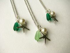 Green Bridesmaid Starfish Necklaces for a Beach by BostonSeaglass, $54.00
