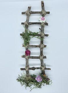Garden Ladder, Pine Design, Garden Gnomes, Miniature Gardens, Real Wood, Twine, Ladder Decor, Craft Supplies, Fairy