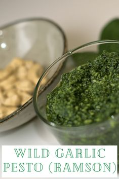 "Wild Garlic Pesto (Ramson) is a pesto made from the fantastic herb ""ramson"" which we pick lots of every spring here in Norway. It's amazing! Best Vegan Recipes, Vegan Dinner Recipes, Vegetarian Recipes Easy, Raw Food Recipes, Vegan Food, Vegan Raw, Breakfast Recipes, Raw Vegan Dinners, Easy Vegan Dinner"