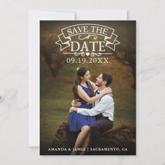 Rustic Vintage Wedding Vertical Photo Save The Date - tap, personalize, buy right now! Rustic Save The Dates, Wedding Save The Dates, Save The Date Photos, Good Cheer, Personal Photo, Wedding Cards, Hand Lettering, Dating, Romantic
