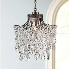 862 best crystal chandeliers images on pinterest canopy raked brielle antique brass 12 wide crystal plug in swag pendant aloadofball Images