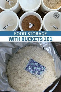 Food Storage With Buckets 101 - Something that anyone who is serious about getting food storage needs to think about, because if you're investing your time and money into food, you want to make sure you're storing it properly. Emergency Food Storage, Emergency Preparedness Kit, Emergency Preparation, Emergency Planning, Emergency Food Supply, Prepper Food, Survival Food, Survival Prepping, Wilderness Survival