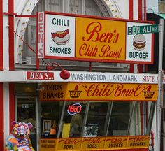 Halfsmokes at Ben's Chili Bowl on U Street.