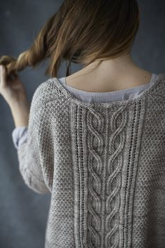 Sous Sous ~ knit sweater/pullover constructed flat in two pieces then joined at shoulders and p/u sleeves ~ pattern by Norah Gaughan ~ $6.75 digital download | via Ravelry