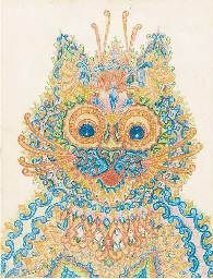 """Louis Wain Wide Eyed Cat  A wide-eyed cat signed 'Louis Wain' 8¾ x 6 5/8in.  (22.2 x 16.8cm.). Sold for £5,640 ($7,981) at Christies, London, Dec 2001. it is not known if his works were created in the order usually presented, as Wain did not date them. Rodney Dale, author of Louis Wain: The Man Who Drew Cats, has criticised the belief that the five paintings can be used as an example of Wain's deteriorating mental health, writing: """"Wain experimented with patterns and cats, and even quite…"""