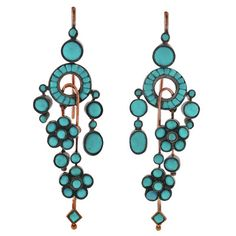 Persian turquoise earrings from the 1880 era. This color of natural Robbins egg blue Turquoise can no longer be found anywhere on earth in 2014. So beautiful, so rare! - Priceless!