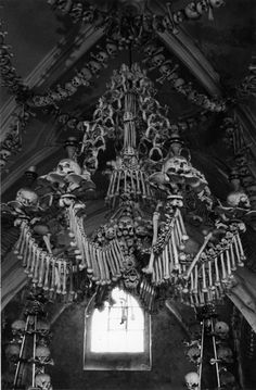 "* Chandeliers made of bones in a church in the czech republic, photo by lina scheynius (who explains ""if i remember correctly there were too many dead bodies after the plague and the priest ""got creative"""") *"
