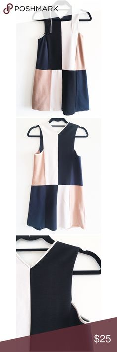 """Zara 70s inspired Color Block Dress Color block medium weight knit dress. Wear it alone or over a long sleeves top for a cute layered look! 32"""" long. Raw edge bottom hem finish. There is a small mark on the wearer's left side, which should be able to remove after a wash. Wore it once. Zara Dresses Mini"""