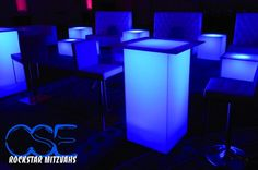 Club Theme Bat & Bar Mitzvah & Party Ideas - Light-Up LED Cocktail Lounge Furniture, Blue {City Sounds Entertainment} - www.mazelmoments.com/blog/19023/lounge-club-nightclub-theme-ideas-bar-bat-mitzvah-party-sweet-16/