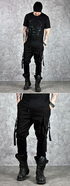 Unique buckled cargo pocket accent black sweatpants - 187