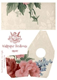 Wings of Whimsy: Wallpaper Birdhouse No 8 Front #vintage #ephemera #freebie #printable #wallpaper #bird #house kopi