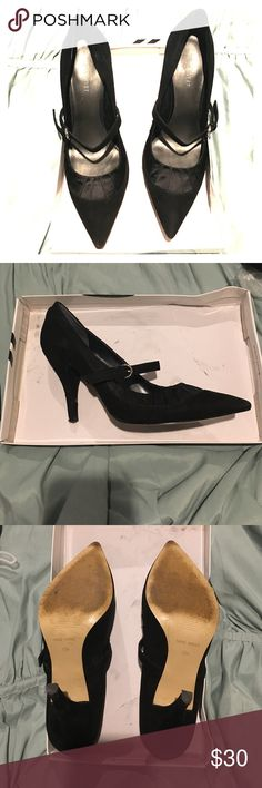 Nine West shoes Black suede Nine West heals. Has some wear. One heal has very minor cosmetic damage (shown in the pics). Comes with original box. Nine West Shoes Heels