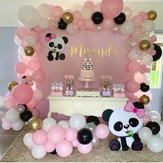 Panda Themed Party, Panda Birthday Party, Panda Party, Birthday Parties, Disney Birthday, Baby Girl Birthday Theme, Baby Girl Shower Themes, Panda Baby Showers, Panda Decorations