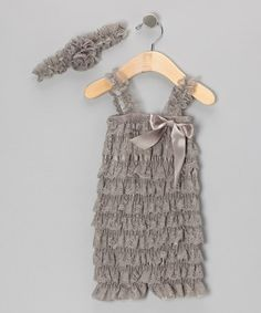 Take a look at this Gray Flower Headband & Lace Ruffle Romper - Infant & Toddler by Whitney Elizabeth on #zulily today!