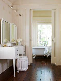 Trade a standard door for a sliding pocket door to gain additional floor space once reserved for the door swing. Bifold doors (doors that fold up like a screen) can also save space. In our small master bath, we can use the double sliding door, leaving enough room to put the niche in the shower area.