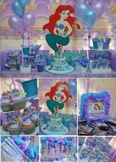 ariel5                                                                                                                                                                                 Más Little Mermaid Birthday Cake, Little Mermaid Parties, 4th Birthday Parties, Birthday Party Decorations, Birthday Ideas, 5th Birthday, Disney, Party Ideas, Birthdays