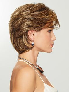 Gratitude by Eva Gabor Wigs - Heat Friendly Synthetic Wig - August 24 2019 at Short Hair With Layers, Layered Hair, Short Hair Cuts, Short Hair Over 50, Inverted Bob With Layers, Layered Bob Short, Layered Bob Hairstyles, Easy Hairstyles, Prom Hairstyles