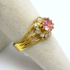 #Pink Glass #Rhinestones Cocktail #Ring Vintage Jewelry from #MyClassicJewelry